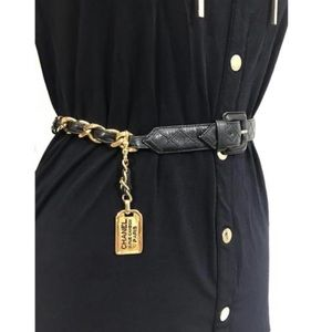 CHANEL CC Quilted Chain Mendallion Buckle Belt